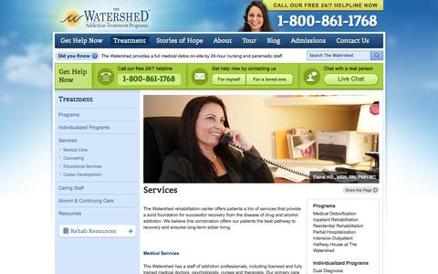 Screenshot of Services Page thewatershed.com - Services - The Watershed | Addiction Treatment Programs - captured Sept. 25, 2014