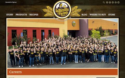 Screenshot of Jobs Page latortillafactory.com - Careers - La Tortilla Factory - captured Sept. 27, 2014