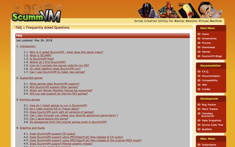 Screenshot of FAQ Page scummvm.org - ScummVM :: F.A.Q. - captured Sept. 20, 2018