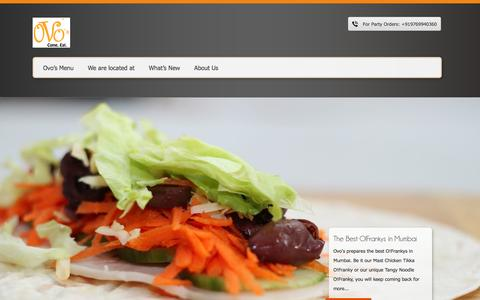 Screenshot of Home Page ovos.co - Home - Ovo's - Come. Eat. - captured Oct. 5, 2014