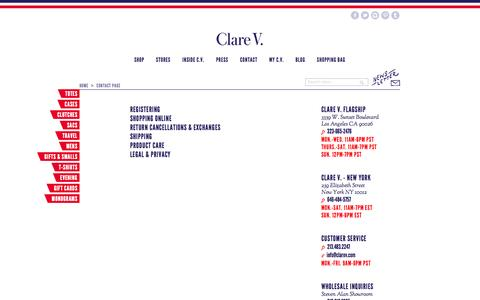 Screenshot of Support Page clarev.com - Contact Page | Clare V. - captured Oct. 28, 2014