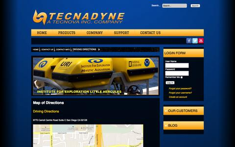 Screenshot of Maps & Directions Page tecnadyne.com - Map of Directions - captured Oct. 26, 2014