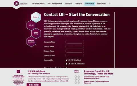 Screenshot of Privacy Page Contact Page lbisoftware.com - Contact LBi Software — HR and HCM Technology, Services, and Careers - captured July 9, 2016