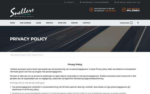 Screenshot of Privacy Page snellers.nl - Privacy Policy - Snellers Exclusieve auto's - captured Oct. 19, 2018
