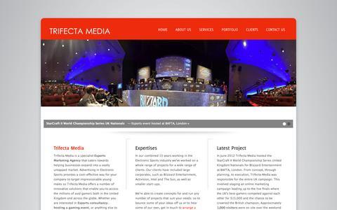 Screenshot of Home Page trifectamedia.net - Esports Marketing Agency - Esports Consultancy   Trifecta Media - captured Oct. 7, 2014