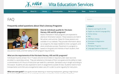 Screenshot of FAQ Page vitaeducation.org - FAQ – Vita Education - captured Oct. 20, 2018