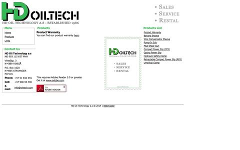 Screenshot of Products Page oiltech.com - HD OILTECH - captured Oct. 1, 2014