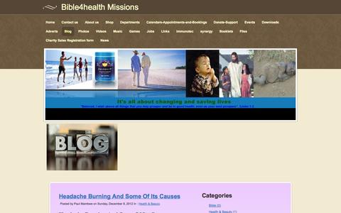 Screenshot of Blog bible4healthmissions.com - Blog - Bible4health Missions - captured Sept. 30, 2014