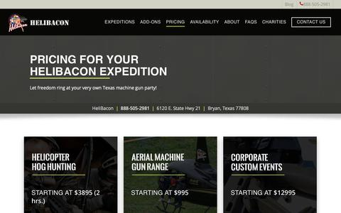 Screenshot of Pricing Page helibacon.com - Pricing for HeliBacon Expeditions, Hog Hunting & Machine Gun Range - captured July 18, 2018