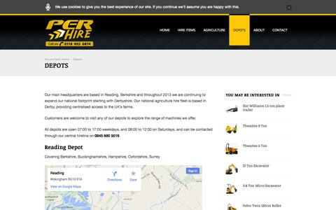 Screenshot of Locations Page perhire.co.uk - Depots | Per Hire - captured Oct. 2, 2014