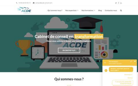 Screenshot of Home Page acde-conseil.com - Cabinet de conseil en Management et PMO | ACDE Conseil - captured Dec. 9, 2018