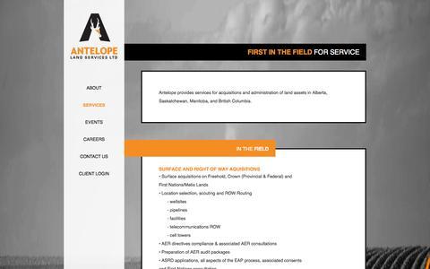Screenshot of Services Page antelopeland.com - Antelope Land Services Ltd. - captured Oct. 4, 2014