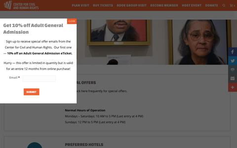 Screenshot of Hours Page civilandhumanrights.org - Special Offers | Center for Civil and Human Rights - captured Sept. 24, 2018