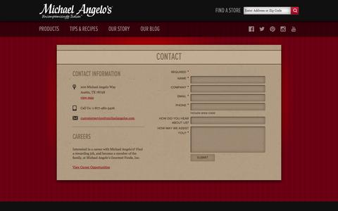 Screenshot of Contact Page michaelangelos.com - Contact Us, We Love to Hear From You | Michael Angelo's Foods - captured Nov. 4, 2014