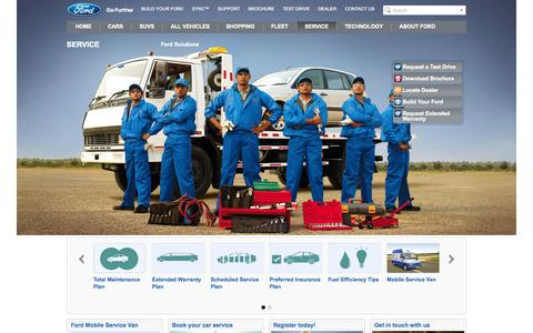 Screenshot of Services Page ford.com - Ford Service | Car care that's close to you | Ford India - captured Sept. 18, 2014