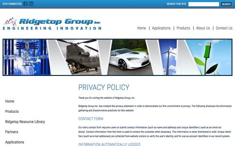 Screenshot of Privacy Page ridgetopgroup.com - Privacy Policy - Ridgetop Group - captured Jan. 11, 2016