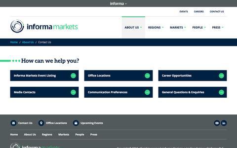 Screenshot of Contact Page informamarkets.com - Contact Us - captured Nov. 24, 2019