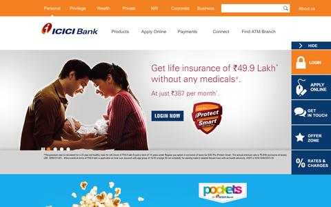 Screenshot of Home Page icicibank.com - Personal Banking, Online Banking Services - ICICI Bank - captured Jan. 26, 2016