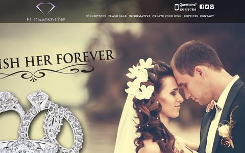 Screenshot of Home Page eternallovediamond.com - Custom Jeweler NYC - Custom Engagement Rings | E. L. Diamond Corp. - captured Oct. 5, 2014
