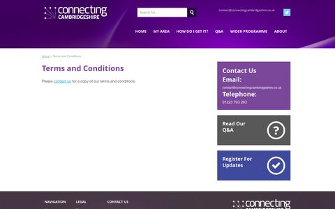 Screenshot of Terms Page connectingcambridgeshire.co.uk - Terms and Conditions - Connecting Cambridgeshire - captured Oct. 28, 2014