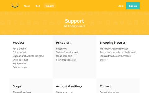 Screenshot of Support Page yellowbag.com - Yellowbag - Contentpages :: Support - captured Nov. 17, 2015