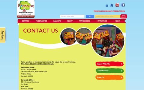 Screenshot of Contact Page treehouseplaygroup.net - TreeHouse - Contact Us - captured Oct. 7, 2014