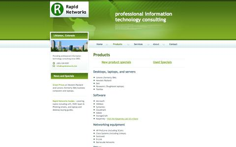 Screenshot of Products Page rapidnetworks.biz - Rapid Networks, Inc. - captured Oct. 9, 2014