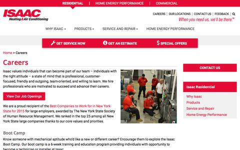 Screenshot of Jobs Page isaacheating.com - Isaac Heating and Air Conditioning Careers - Job Openings - captured Oct. 5, 2017