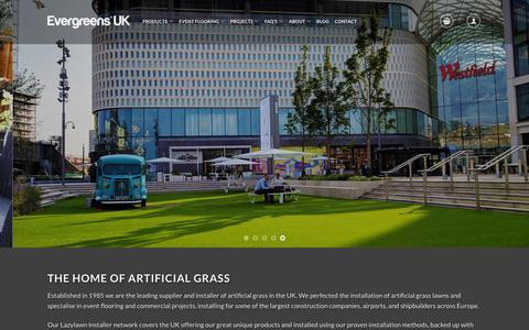Screenshot of Home Page evergreensuk.com - Artificial Grass Landscape Range - Evergreens UK™ - captured Sept. 29, 2018