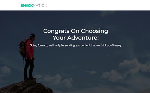 Screenshot of Landing Page snacknation.com captured Sept. 19, 2018