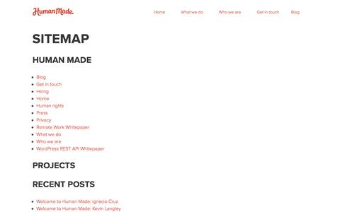 Screenshot of Site Map Page hmn.md - Sitemap — Human Made - captured Sept. 17, 2017