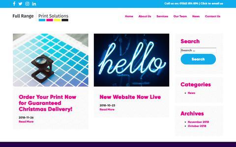 Screenshot of Press Page fullrangeprintsolutions.co.uk - News - Full Range Print Solutions - captured Dec. 19, 2018