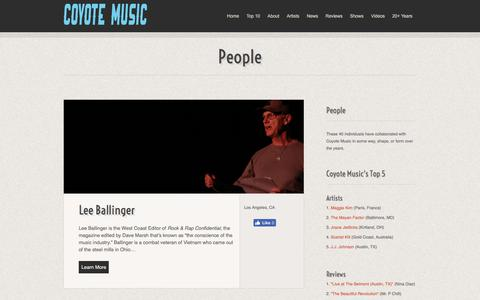 Screenshot of Team Page coyotemusic.com - People :: Coyote Music - captured July 21, 2018