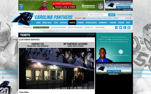 Screenshot of Support Page panthers.com - Carolina Panthers  |  Customer Service - captured Sept. 25, 2014
