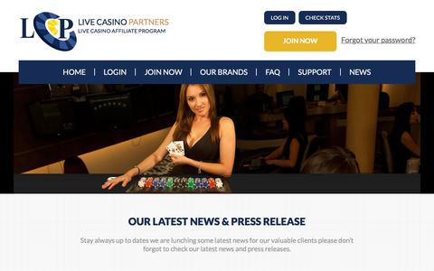 Screenshot of Press Page livecasinopartners.com - Live Casino Affiliate Program | LiveCasinoPartners.com is the affiliate program that features real live dealers. - captured May 21, 2017
