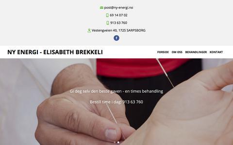 Screenshot of Home Page ny-energi.no - Ny Energi - Elisabeth Brekkeli - captured March 2, 2018