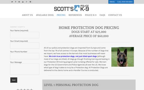 Screenshot of Pricing Page scottsk9.com - Home Protection Dog Pricing | Scott's Police K-9 - captured Dec. 1, 2016