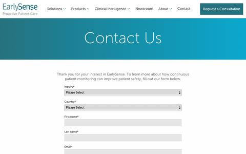 Screenshot of Contact Page earlysense.com - Contact - Early Sense - captured March 21, 2019