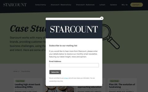Screenshot of Case Studies Page starcount.com - Big Data & Data Science Case Studies | Starcount - captured April 28, 2019
