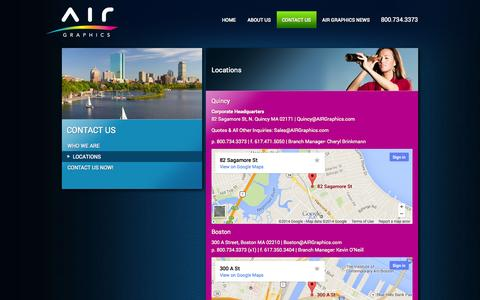 Screenshot of Locations Page airgraphics.com - Locations | AIR Graphics - Boston, Quincy MA - captured Sept. 30, 2014