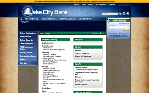 Screenshot of Site Map Page lakecitybank.com - Site Map | Lake City Bank - Personalized Community Banking - captured Sept. 19, 2014