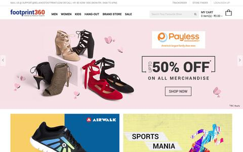 Screenshot of Home Page footprint360.com - Online Shoes Shopping in India for Men, Women & Kids | Footprint360.com - captured Oct. 28, 2017