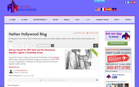 Screenshot of Blog haitianhollywood.com - Haitian Hollywood Blog, where blogger can blog about different topics about Haiti and Haitians.  - Haitian Hollywood Blog - captured Oct. 28, 2014