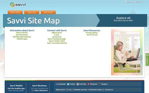 Screenshot of Site Map Page savvi.com - Site Map | Savvi - captured Oct. 4, 2014