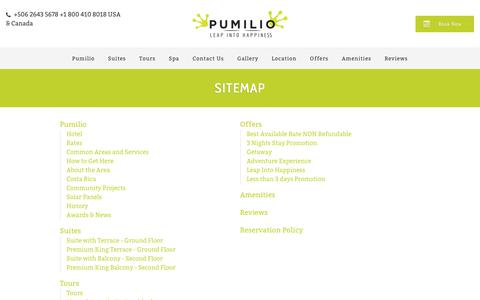 Screenshot of Site Map Page hotelpumilio.com - Vacations Costa Rica, Boutique Hotel, Best rating, Jacó, Costa Rica. - captured July 22, 2017