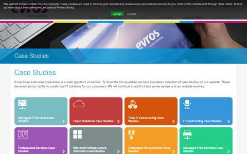Screenshot of Case Studies Page evros.ie - IT Case Studies | Evros Technology Group - captured Jan. 26, 2018