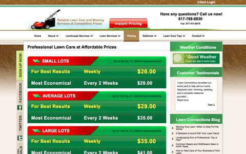 Screenshot of Pricing Page lawnconnections.com - Affordable Lawn Care Haslet TX-Lawn Mowing Prices-Landscaping Prices - captured Nov. 1, 2016