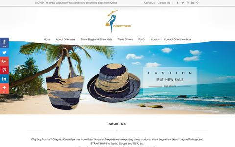 Screenshot of Home Page orientnew.com - Straw Bags and Straw hats-China Supplier Wholesaler - Qingdao Orientnew - captured Sept. 28, 2018