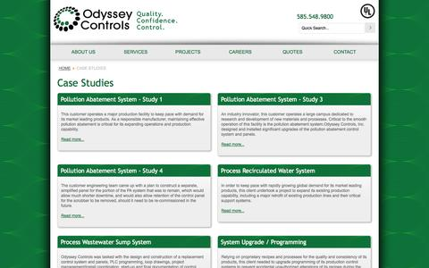 Screenshot of Case Studies Page odysseycontrols.com - Case Studies - Odyssey Controls - captured Oct. 27, 2014