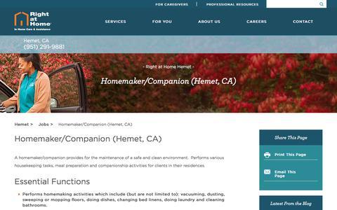 Screenshot of Jobs Page rightathome.net - Homemaker/Companion - captured Feb. 27, 2018